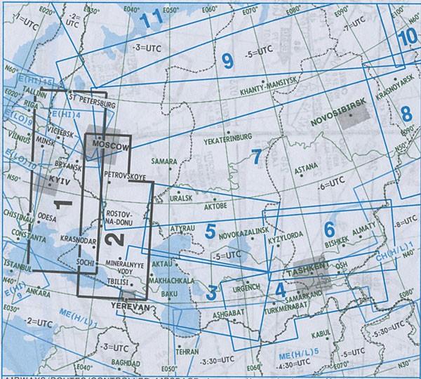IFR-Streckenkarte Eurasia - Oberer/Unterer Luftraum - EA(H/L) 1/2