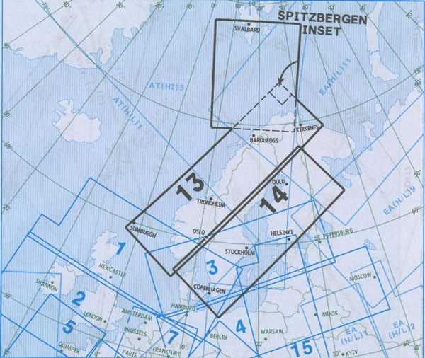 IFR-Streckenkarte - Oberer Luftraum E(HI) 13/14