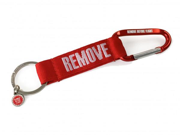 REMOVE BEFORE FLIGHT - Schlüsselanhänger mit Karabiner