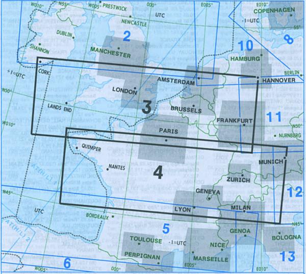E(LO) 3/4 IFR-Streckenkarte Europe - Unterer Luftraum