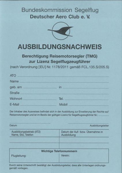 DAeC Ausbildungsnachweis Reisemotorsegler (TMG) Front