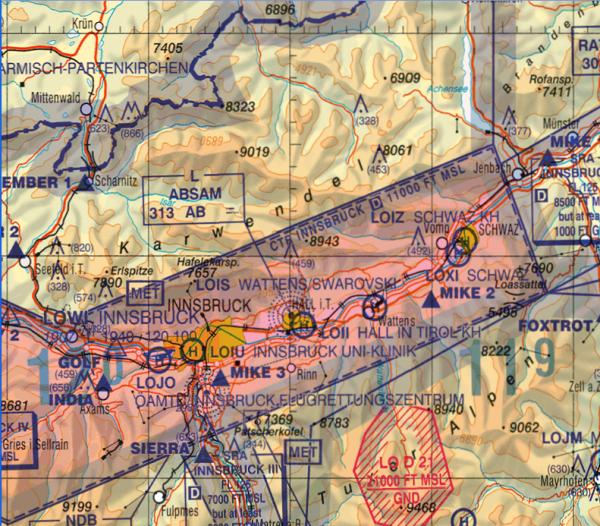 Flight Planner - ICAO-Karte - Österreich