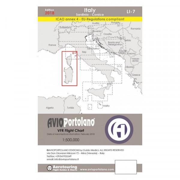 AVIOportolano Aerotouring VFR Flight Chart - Italy Sardinia-Corsica (LI-7)