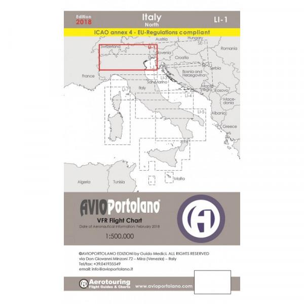 AVIOportolano Aerotouring VFR Flight Chart - Italy North (LI-1)
