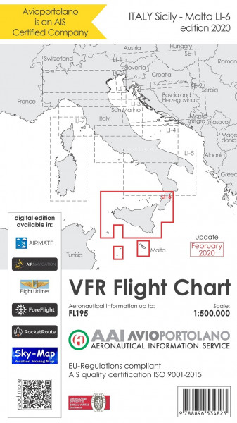 AVIOportolano VFR Flight Chart - Italy Sicily-Malta (LI-6) (Ausgabe 2020)-(Vorbestellung)