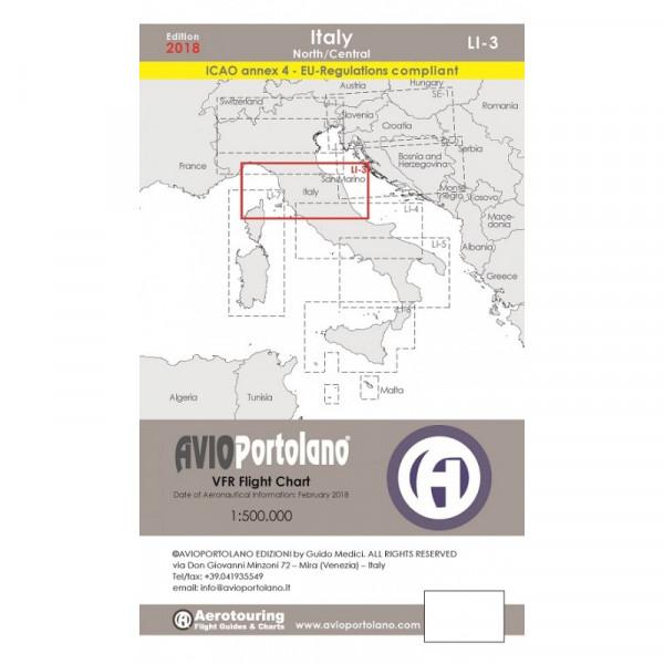 Avioportolano Aerotouring VFR Flight Chart - Italy North/Central (LI-3)