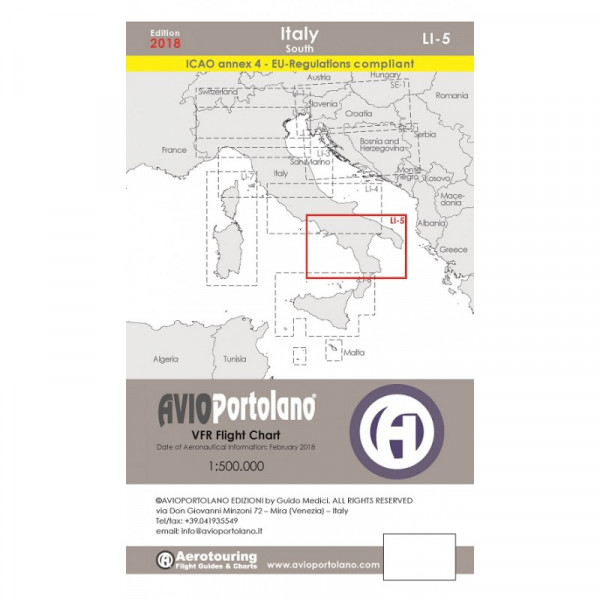 AVIOportolano Aerotouring VFR Flight Chart - Italy South (LI-5)