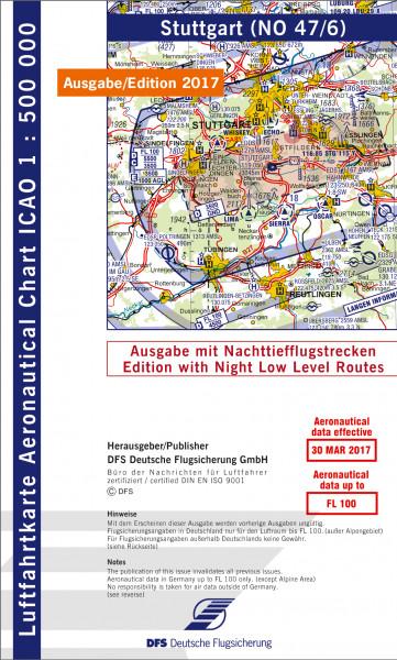 ICAO-Karte, Blatt Stuttgart (Ausgabe 2017), Nachttiefflugstrecken 1:500.000