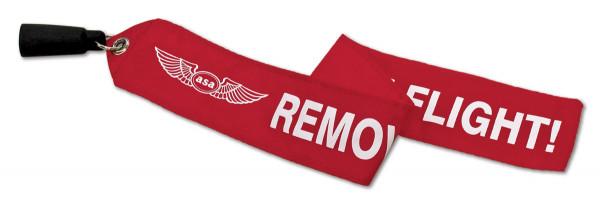 """Staurohrschutz mit Banner """"Remove before flight"""""""
