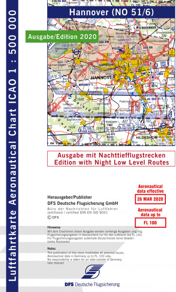 ICAO-Karte, Blatt Hannover (Ausgabe 2020), Nachttiefflugstrecken 1:500.000