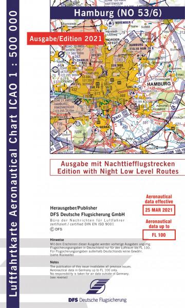 ICAO-Karte, Blatt Hamburg (Ausgabe 2021), Nachttiefflugstrecken 1:500.000