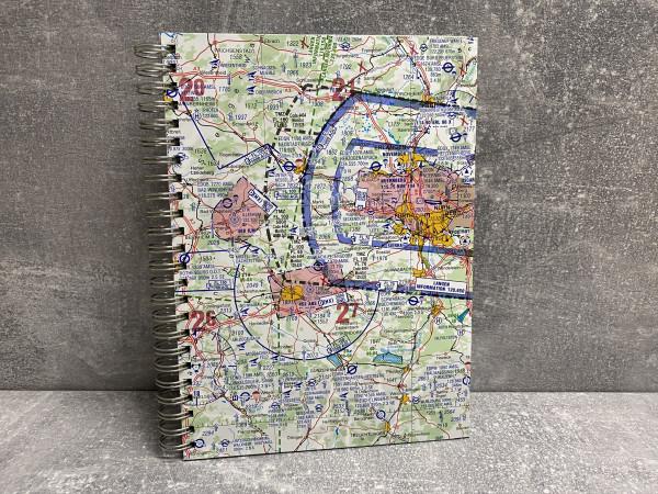 Notizbuch ICAO Karte Einband vorne