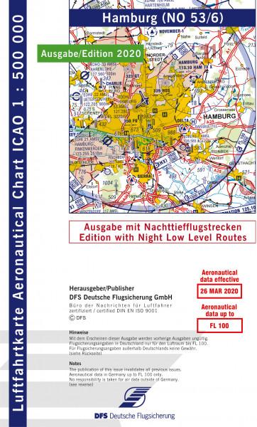 ICAO-Karte, Blatt Hamburg (Ausgabe 2020), Nachttiefflugstrecken 1:500.000
