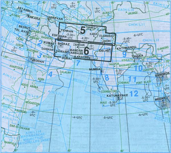 IFR-Streckenkarte Middle East - Oberer/Unterer Luftraum - ME(H/L) 5/6