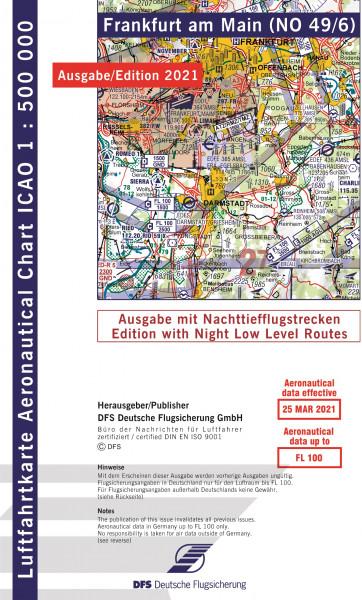ICAO-Karte, Blatt Frankfurt (Ausgabe 2021), Nachttiefflugstrecken 1:500.000 (Vorbestellung)