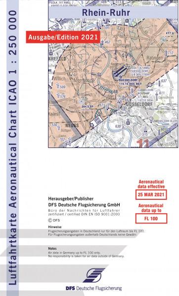 ICAO-Karte, Blatt Rhein-Ruhr (Ausgabe 2021), Motorflug 1:250.000