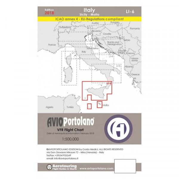 AVIOportolano Aerotouring VFR Flight Chart - Italy Sicily-Malta (LI-6)