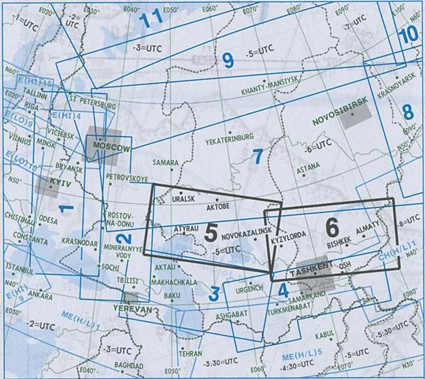 IFR-Streckenkarte Eurasia - Oberer/Unterer Luftraum - EA(H/L) 5/6
