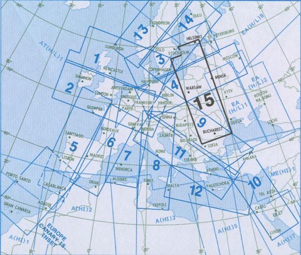 IFR-Streckenkarte - Oberer Luftraum E(HI) 15/BLK
