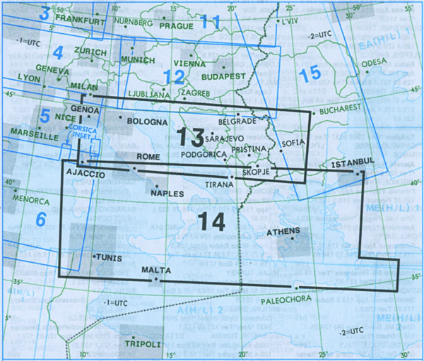 E(LO) 13/14 IFR-Streckenkarte Europe - Unterer Luftraum