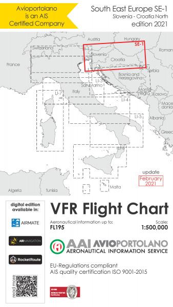 AVIOportolano VFR Flight Chart - Slovenia-Croatia North (SE-1) (Ausgabe 2021)