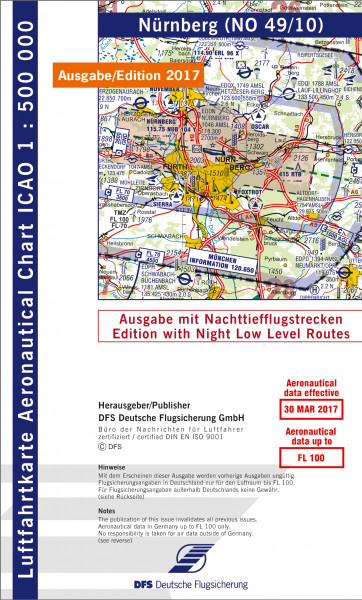 ICAO-Karte, Blatt Nürnberg (Ausgabe 2017), Nachttiefflugstrecken 1:500.000