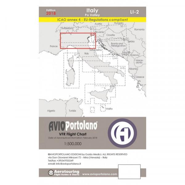 Avioportolano Aerotouring VFR Flight Chart - Italy Po Valley (LI-2)