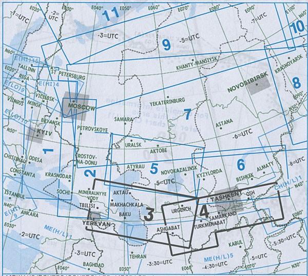 IFR-Streckenkarte Eurasia - Oberer/Unterer Luftraum - EA(H/L) 3/4
