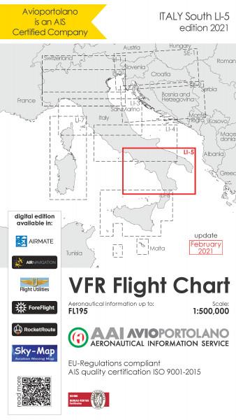 AVIOportolano VFR Flight Chart - Italy South (LI-5) (Ausgabe 2021)