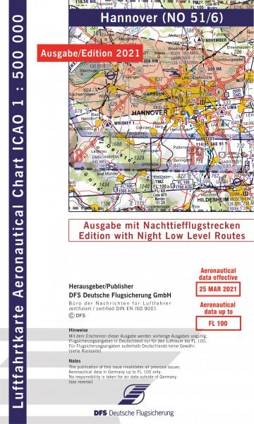 ICAO-Karte, Blatt Hannover (Ausgabe 2021), Nachttiefflugstrecken 1:500.000