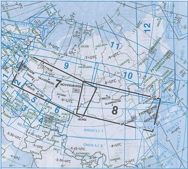IFR-Streckenkarte Eurasia - Oberer/Unterer Luftraum - EA(H/L) 7/8