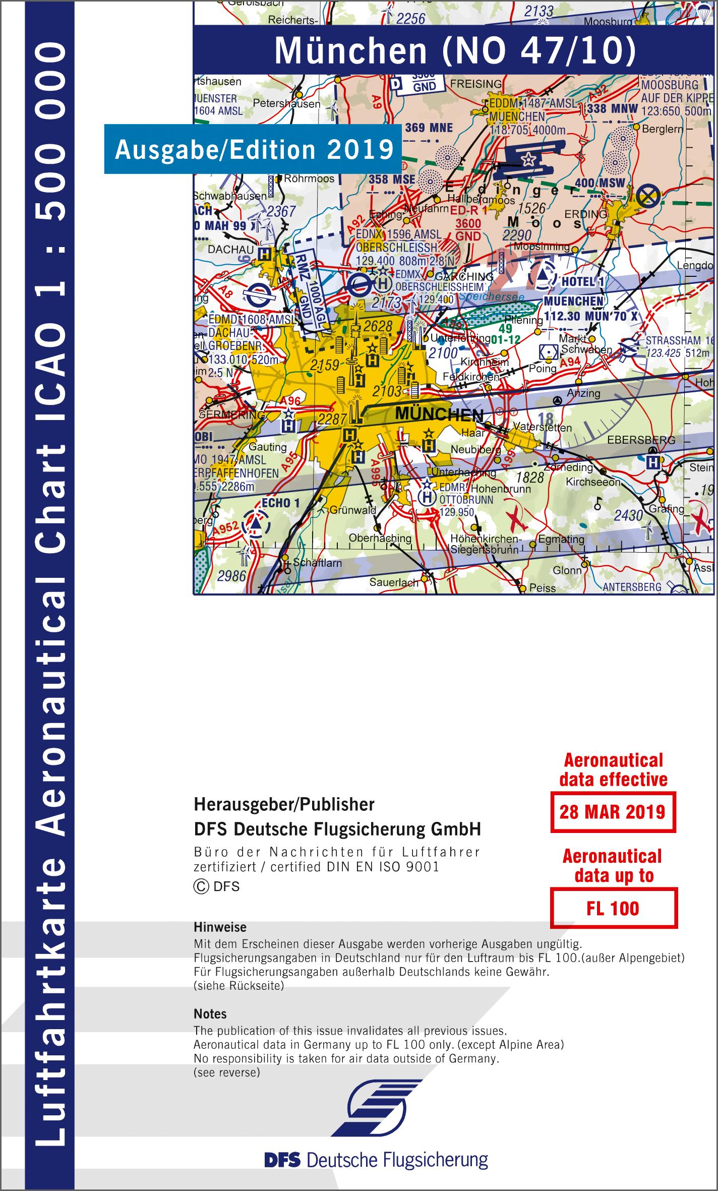 München Karte Deutschland.Icao Karte Blatt München Ausgabe 2019 Motorflug 1 500 000