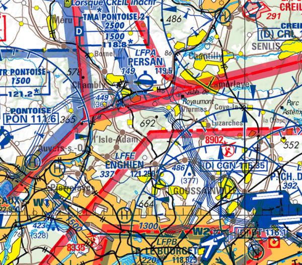 Flight Planner - ICAO-Karte - Frankreich + VFR Anflugkarten