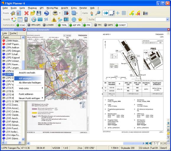 Flight Planner - VFR-Anflugkarten - AIP Schweiz