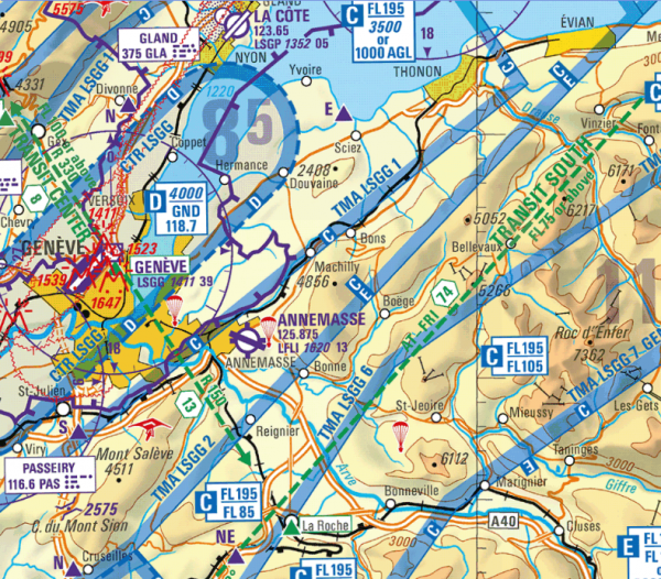 Flight Planner - ICAO-Karte - Schweiz