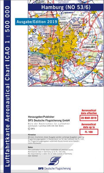ICAO-Karte, Blatt Hamburg (Ausgabe 2019), Motorflug 1:500.000