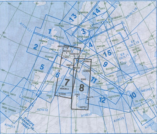 IFR-Streckenkarte - Oberer Luftraum E(HI) 7/8