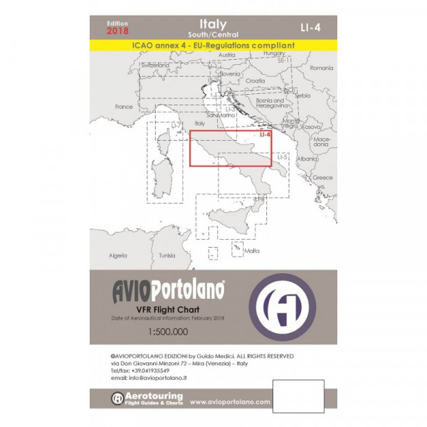 AVIOportolano Aerotouring VFR Flight Chart - Italy South/Central (LI-4)