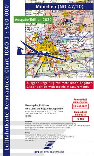 ICAO-Karte, Blatt München (Ausgabe 2020), Segelflug 1:500.000 (Vorbestellung)
