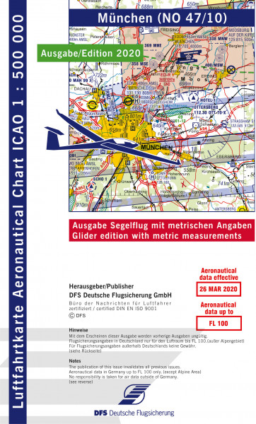 ICAO-Karte, Blatt München (Ausgabe 2020), Segelflug 1:500.000
