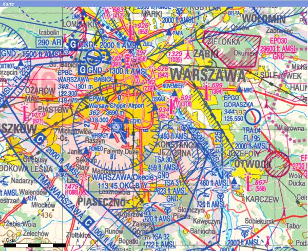 Flight Planner - ICAO-Karte - Polen inkl. VFR Anflugkarten