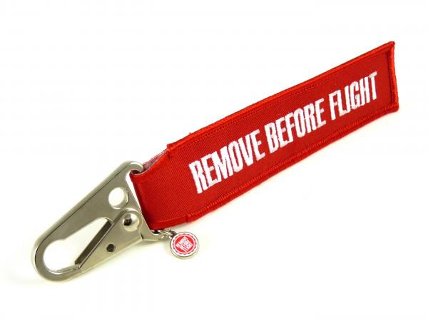 REMOVE BEFORE FLIGHT - Schlüsselanhänger mit Schnabel-Karabiner