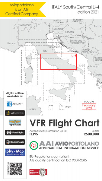 AVIOportolano VFR Flight Chart - Italy South/Central (LI-4) (Ausgabe 2021)