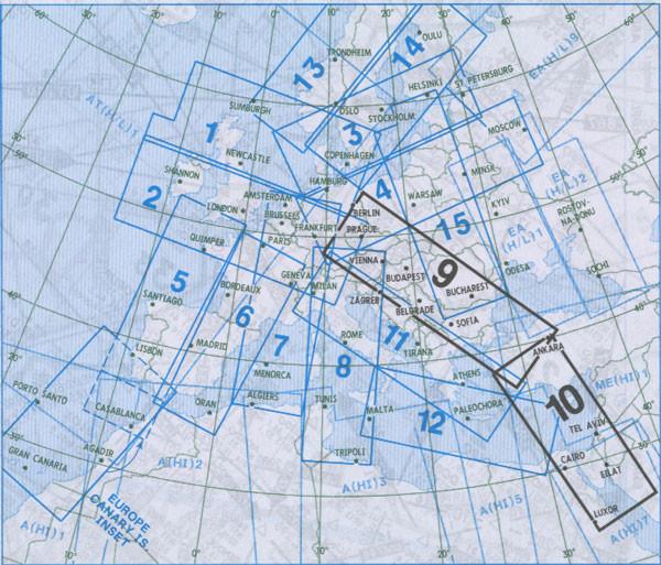 IFR-Streckenkarte - Oberer Luftraum E(HI) 9/10