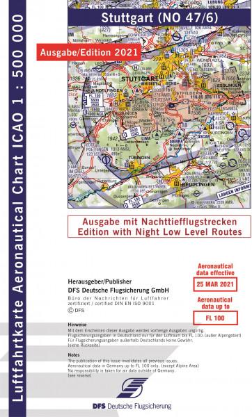 ICAO-Karte, Blatt Stuttgart (Ausgabe 2021), Nachttiefflugstrecken 1:500.000
