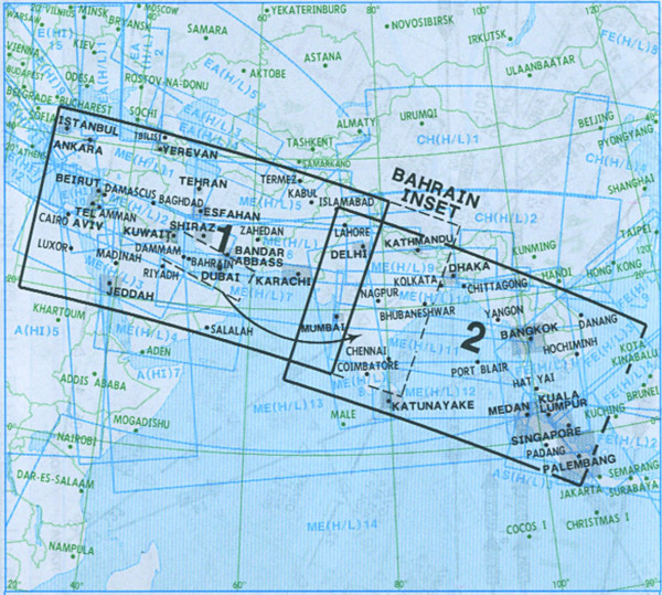 IFR-Streckenkarte Middle East - Oberer Luftraum - ME(HI) 1/2