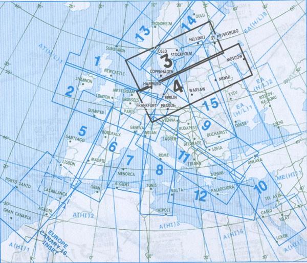 IFR-Streckenkarte - Oberer Luftraum E(HI) 3/4
