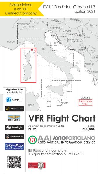 AVIOportolano VFR Flight Chart - Italy Sardinia-Corsica (LI-7) (Ausgabe 2021)