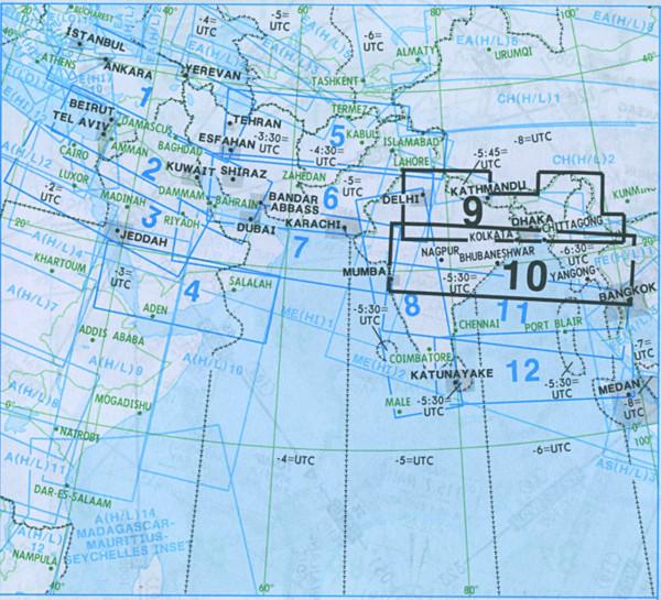 IFR-Streckenkarte Middle East - Oberer/Unterer Luftraum - ME(H/L) 9/10