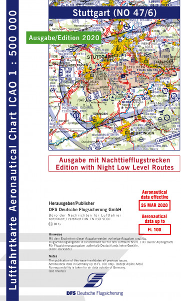 ICAO-Karte, Blatt Stuttgart (Ausgabe 2020), Nachttiefflugstrecken 1:500.000